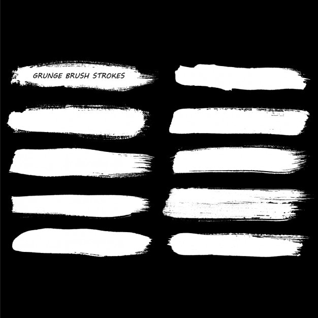 Grunge hand painted brush strokes Free Vector