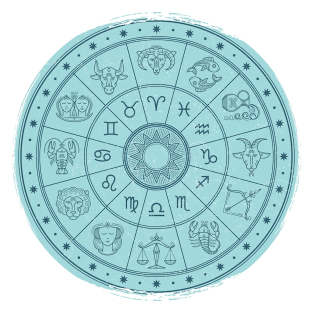 Grunge horoscope signs in astrology circle Premium Vector