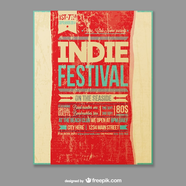 Grunge indie festival poster Vector | Free Download
