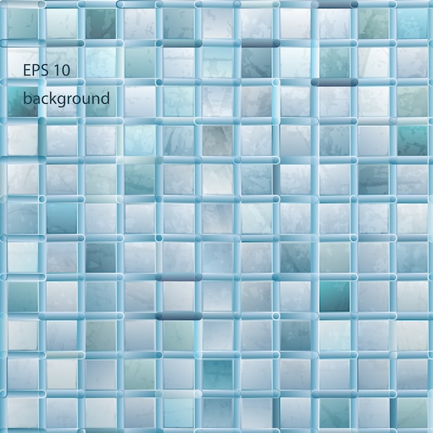 Grunge light mosaic background in aqua color Free Vector