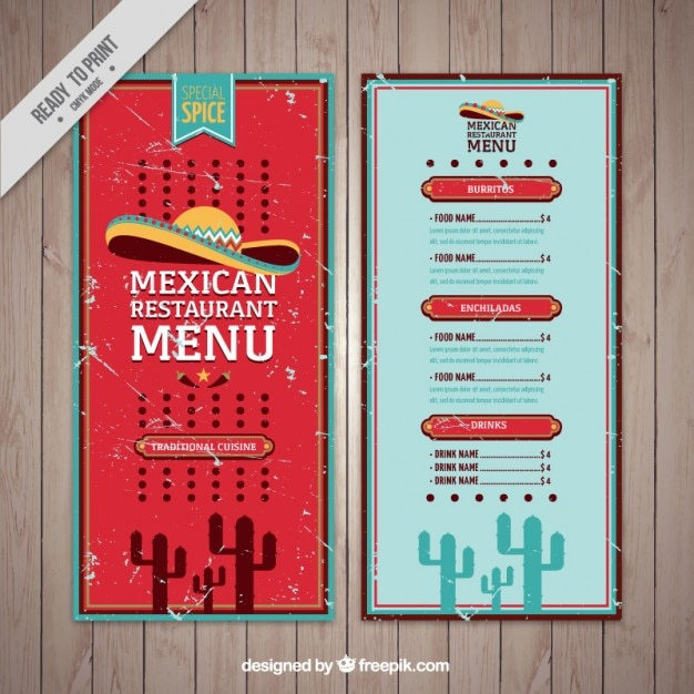 grunge mexican food menu template vector free download