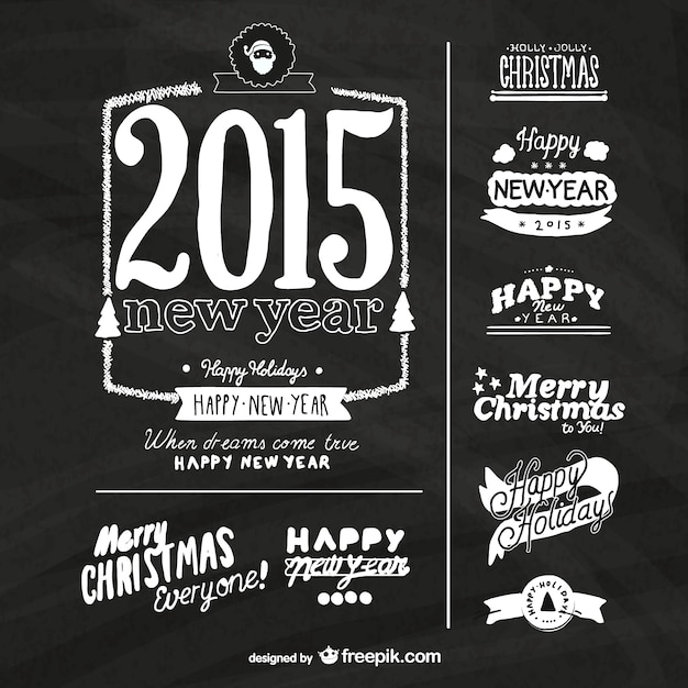 grunge new year labels with blackboard texture free vector