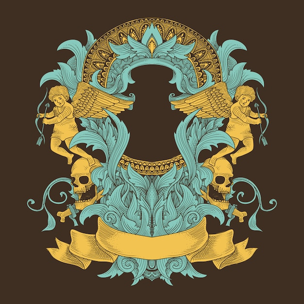 Grunge ornament with angel and mandala pattern Premium Vector