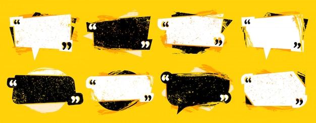 Гранж цитата в кавычках. текстурированная рамка цитаты, набор речевых комментариев и набор шаблонов цитат Premium векторы