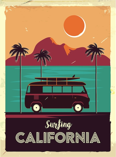Grunge retro metal sign with palm trees and van. Premium Vector