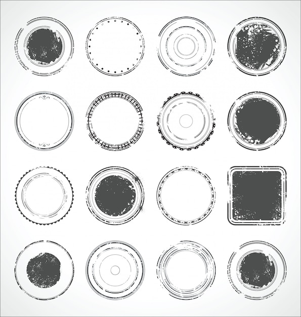 Grunge round paper stickers black and white vector Premium Vector