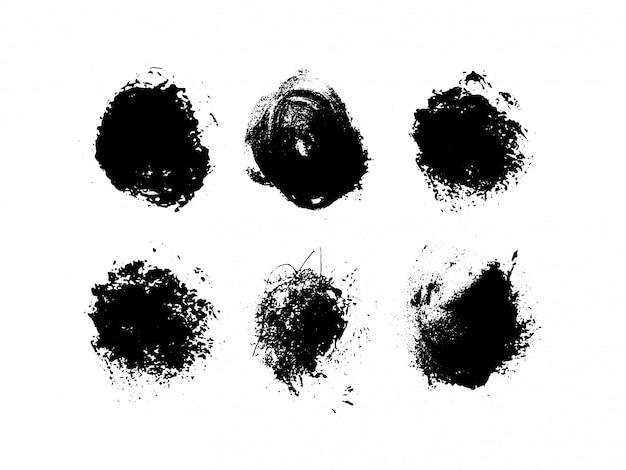 Гранж круглой формы. художественные чернила грязные. иллюстрация Premium векторы