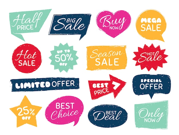 Grunge sale badge, retro pricing sticker, grungy textured price tag and vintage best offer label badges isolated  set Premium Vector