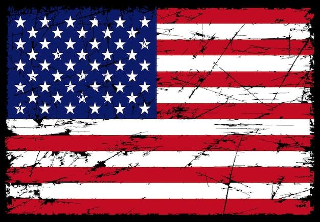 グランジスクラッチアメリカ国旗 Premiumベクター