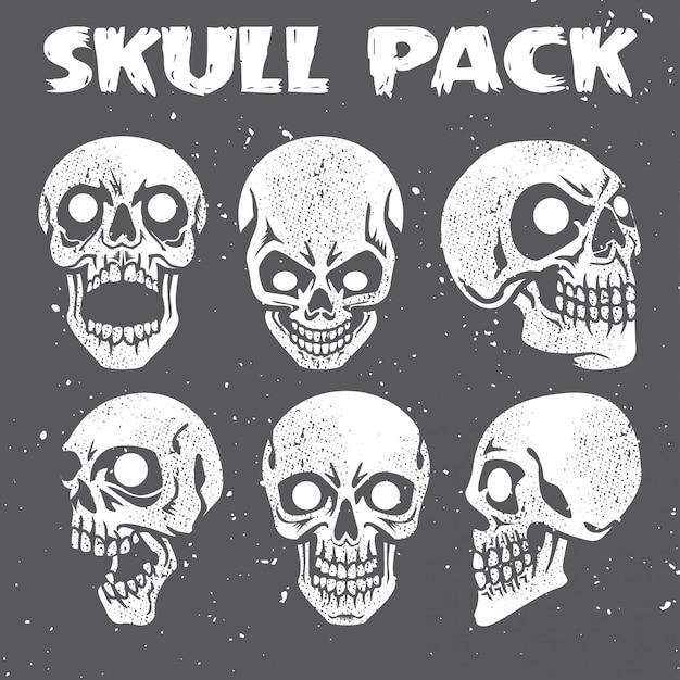 Grunge skulls collection pack Premium Vector