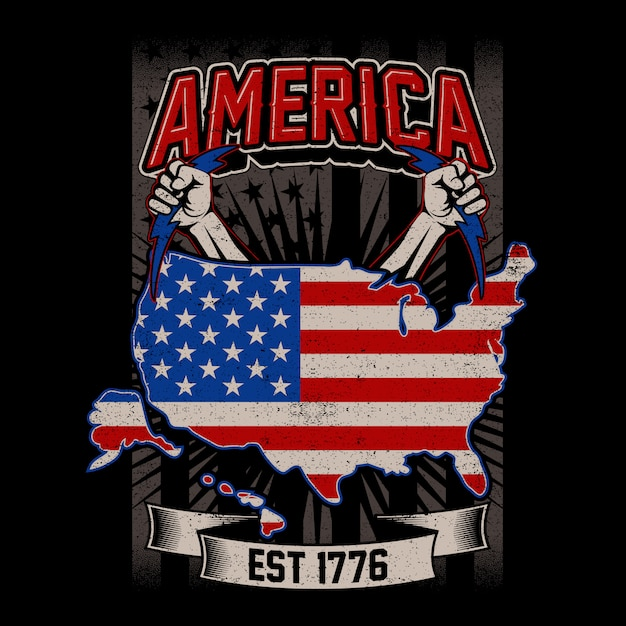 Grunge style american maps with us flag Premium Vector