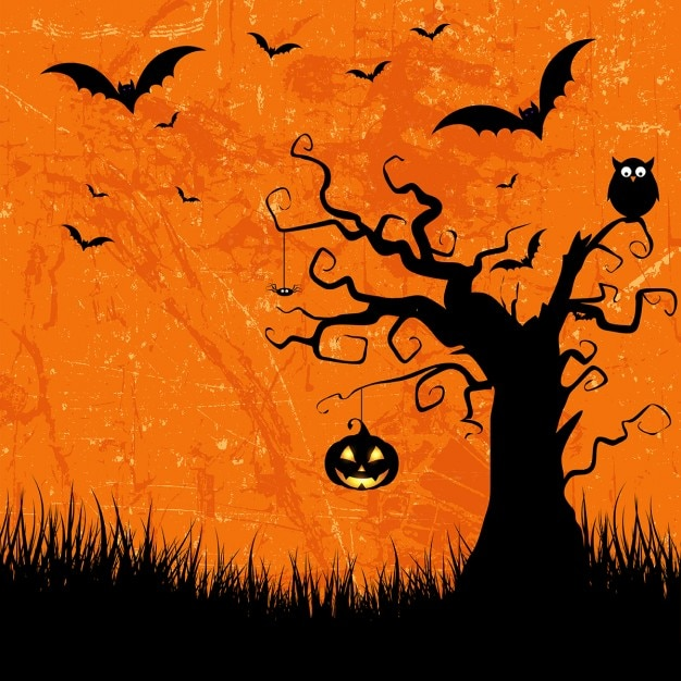 Grunge style halloween background with bats jack o lantern and owl Free Vector
