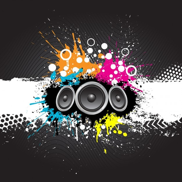 Grunge style music background with speakers Free Vector