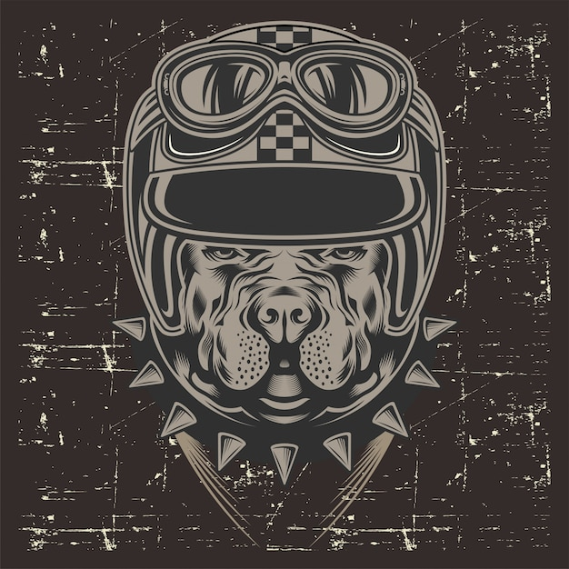 Grunge style pit bull wearing helmet retro Premium Vector