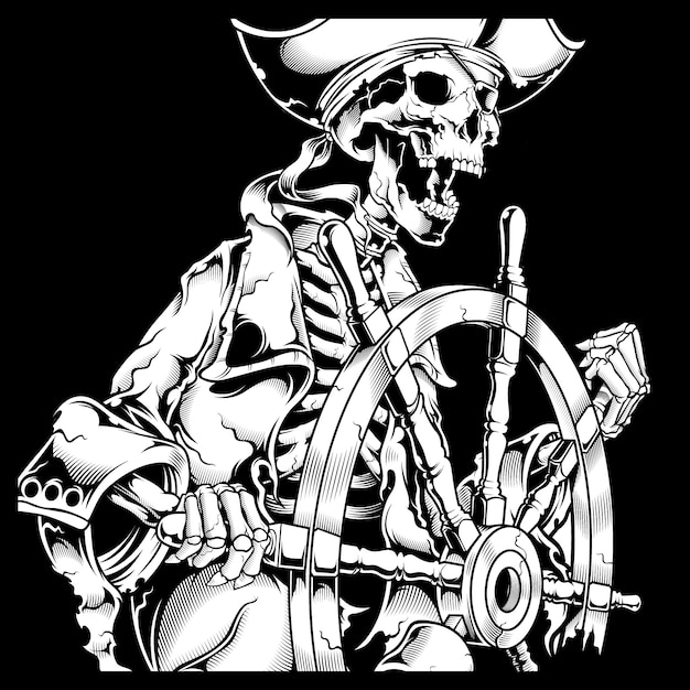 Grunge style skull pirate retro,vintage,detail hand drawing Premium Vector