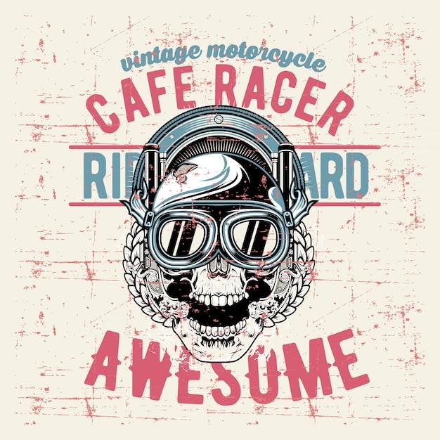 Grunge style vintage skull cafe racer hand drawing Premium Vector
