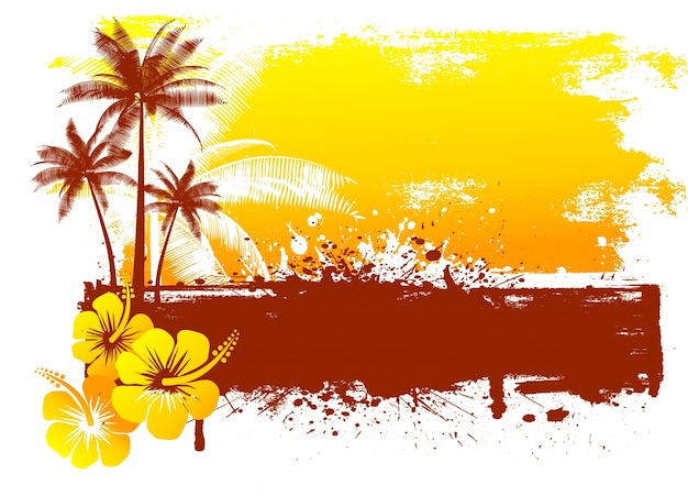 Grunge summer background with hibiscus flowers and palm trees Free Vector