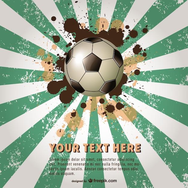 Grunge sunburst with soccer ball Free Vector