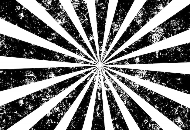 Grunge sunray background black and white Premium Vector