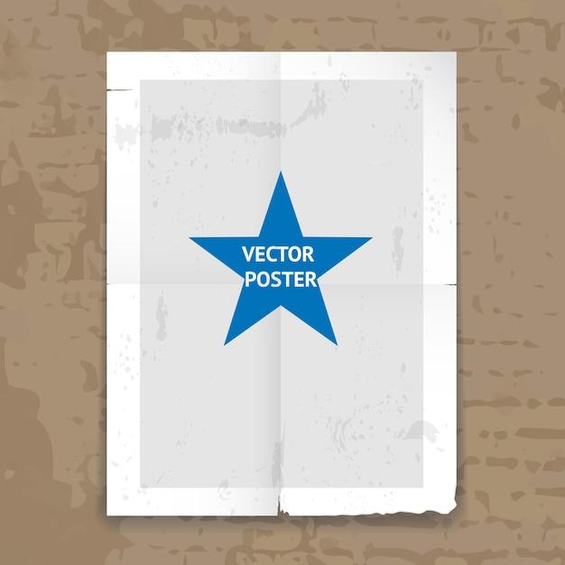 しわ線と壁に掛かっている中央の星とグランジボロボロの折り畳まれたポスターテンプレート 無料ベクター