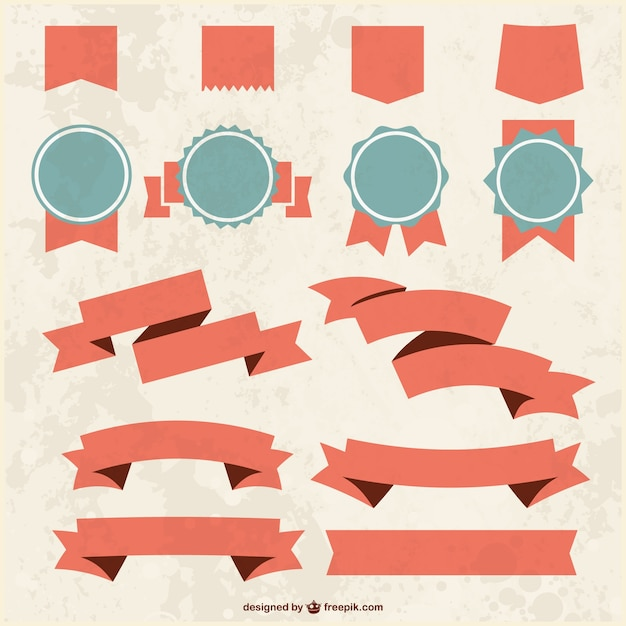 Grunge textured ribbons and badges  Free Vector