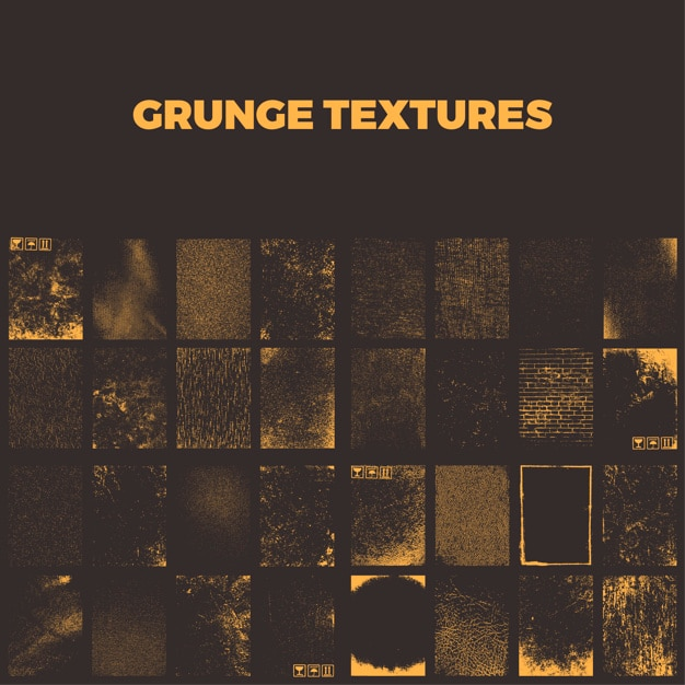 Grunge textures collection Premium Vector