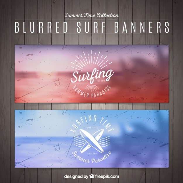 Grunge unfocused beach landscape banners of\ surf