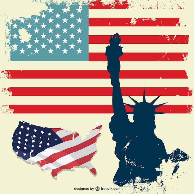 Grunge USA flag and the Statue of Liberty Free Vector