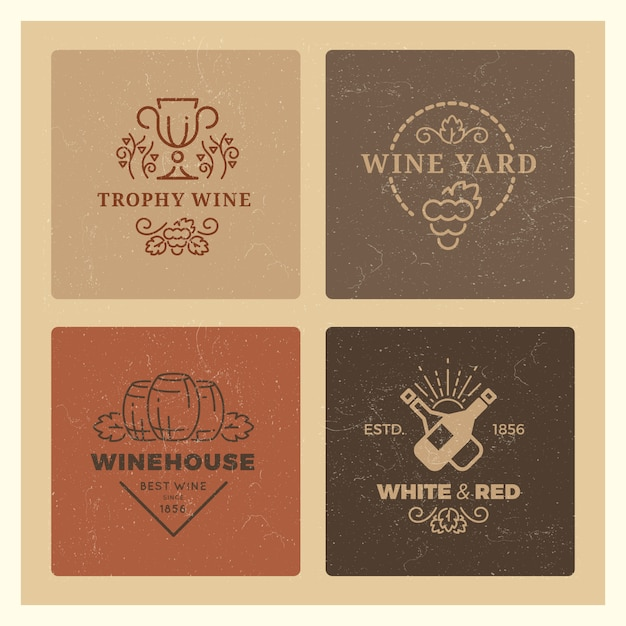 Grunge wine logo set. vintage hipster wine vector emblems Premium Vector
