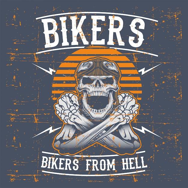 Велосипедисты черепа стиля grunge нося ретро чертеж руки шлема Premium векторы