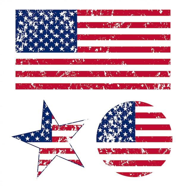 Grunge американские флаги иллюстрации Premium векторы