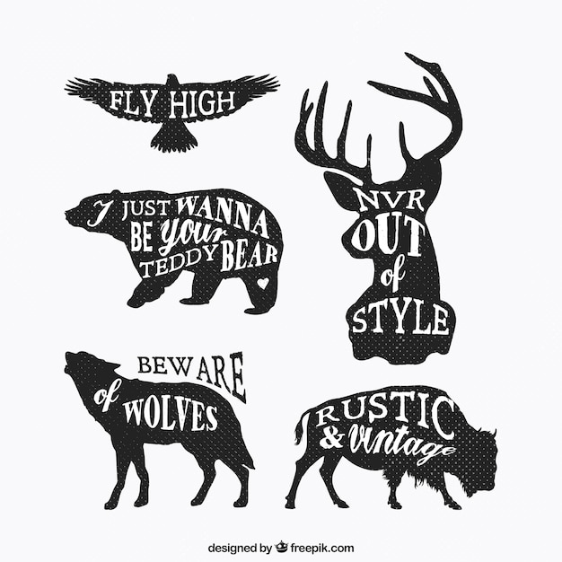 Grungy animal silhouettes with lettering Free Vector