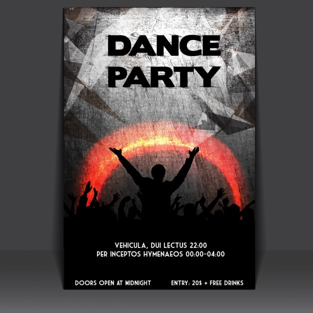 Grungy party poster design Vector | Free Download