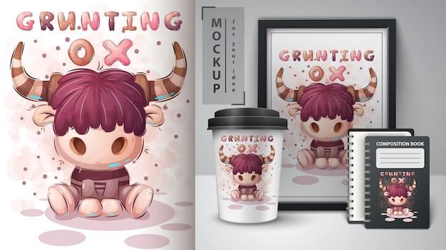 Grunting ox - плакат и мерчендайзинг Бесплатные векторы