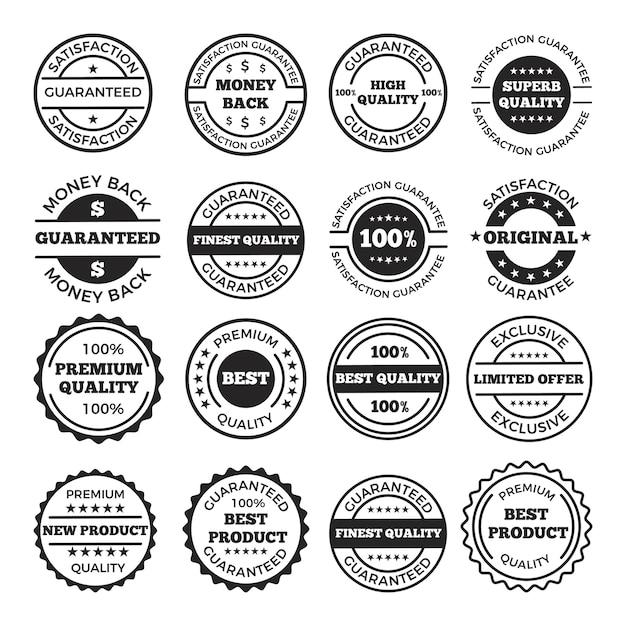 Набор гарантийных значков и логотипов. монохромные картинки с местом для текста. этикетка и значок гарантируют удовлетворение иллюстрацией Premium векторы
