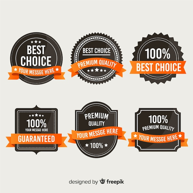 Guarantee label collection Free Vector