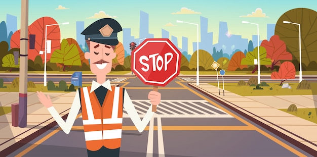 Guard with stop sign on road with crosswalk and traffic lights Premium Vector