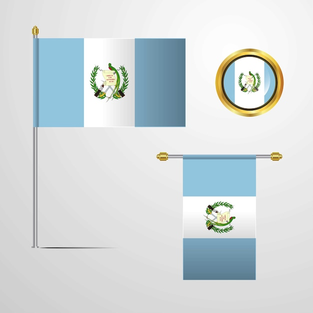 Guatemala waving flag design with badge vector Free Vector