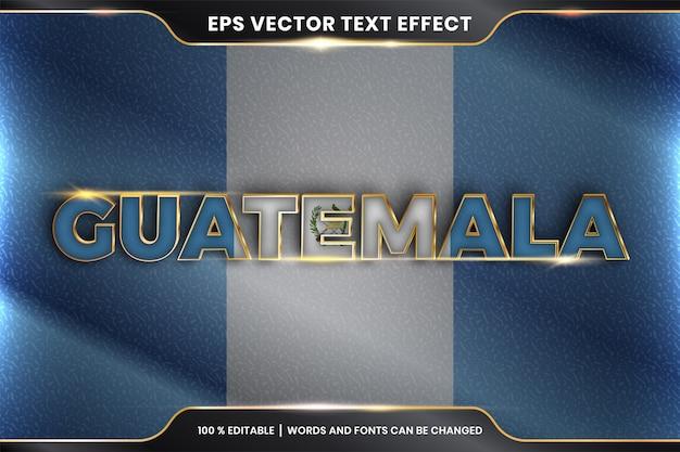 Гватемала с национальным флагом страны, редактируемый эффект текста в стиле золотого цвета Premium векторы