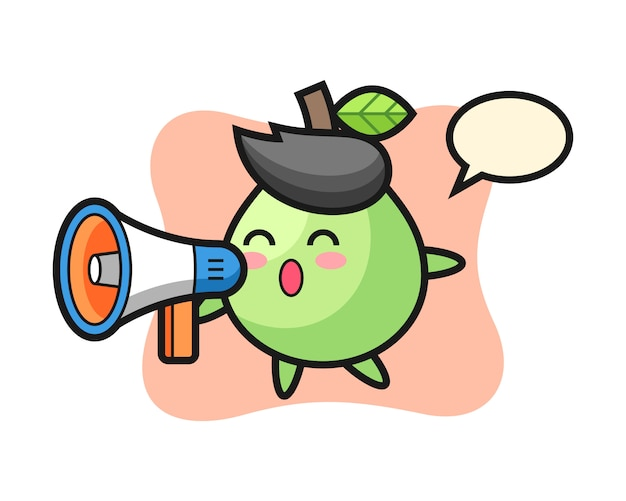 Guava character illustration holding a megaphone, cute style  for t shirt, sticker, logo element Premium Vector