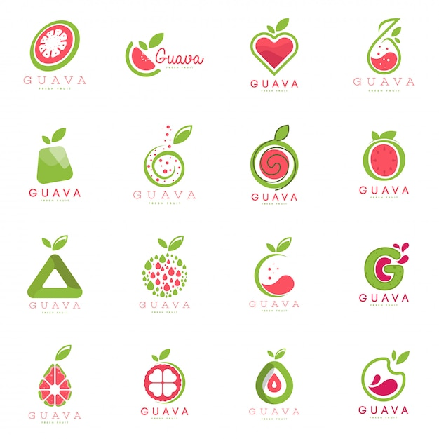 Guava logo set Premium Vector