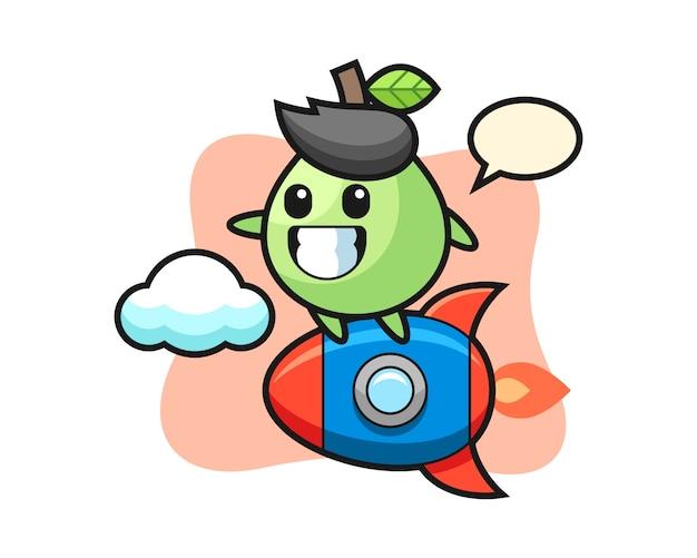 ロケットに乗っているグアバのマスコットキャラクター、tシャツ、ステッカー、ロゴ要素のかわいいスタイル Premiumベクター