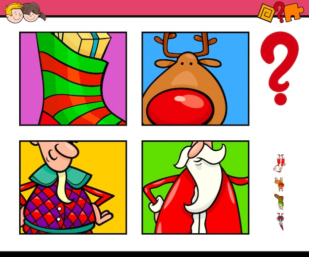 Guess christmas characters and themes for kids Premium Vector