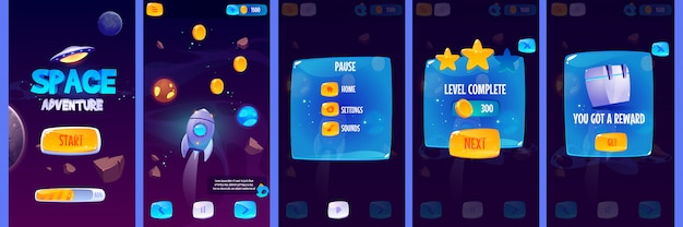 Gui app screens for space adventure game Free Vector
