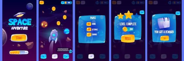 Schermate dell'app gui per il gioco di avventura spaziale Vettore gratuito