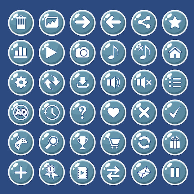 Gui buttons icons set for game interfaces color blue. Premium Vector