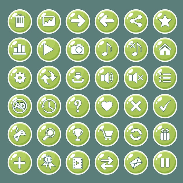 Gui buttons icons set for game interfaces color green. Premium Vector