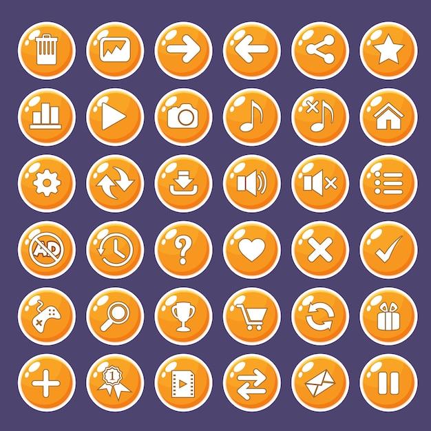 Gui buttons icons set for game interfaces color orange. Premium Vector