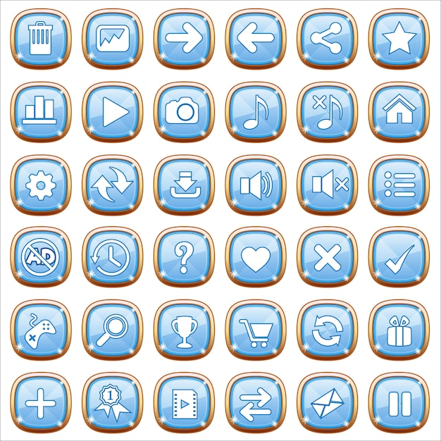 Gui buttons jewelry on blue light. Premium Vector