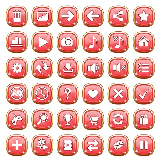 Gui buttons jewelry on red light. Premium Vector